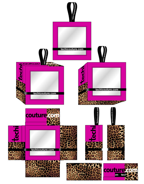 With Leopard print, logo and ribbon.
